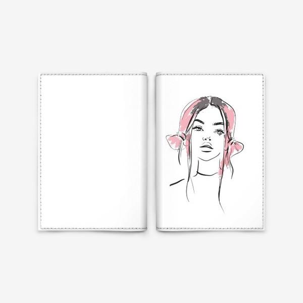 Обложка для паспорта «Pink | Color hair | Fashion cкетч»