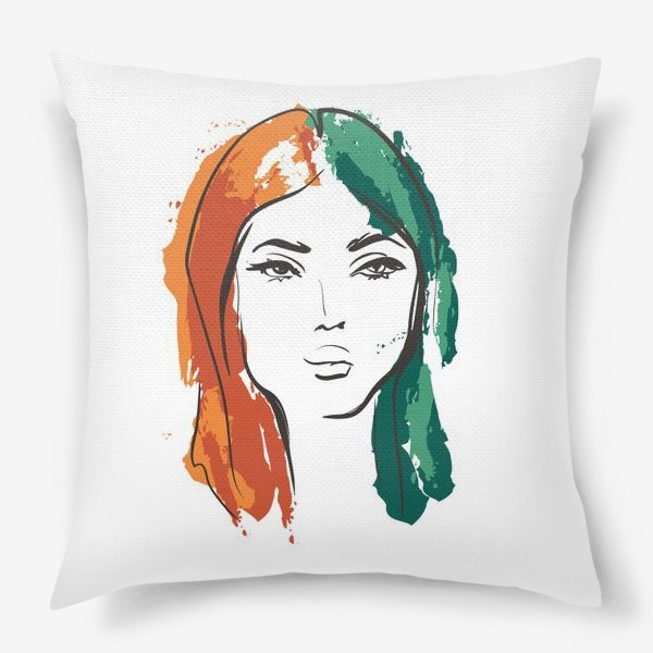 Подушка «Autumn | Color hair | Fashion cкетч»