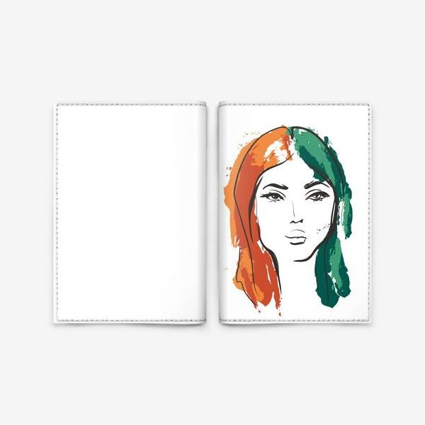 Обложка для паспорта «Autumn | Color hair | Fashion cкетч»