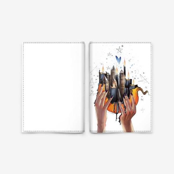 Обложка для паспорта «Хэллоуинская тыква. Свечи и кристаллы»