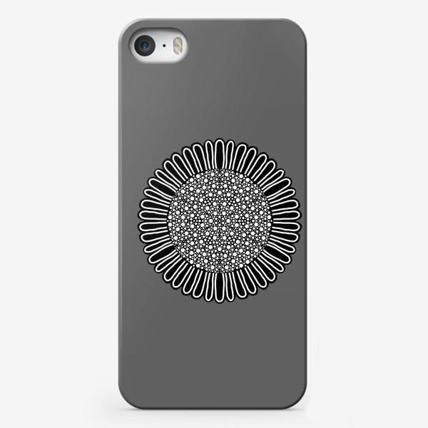 Чехол iPhone «Черно-белый подсолнух на сером, графика»