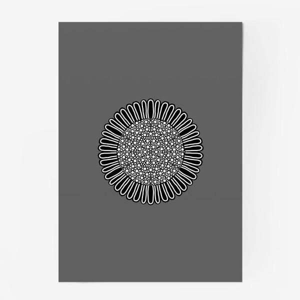 Постер «Черно-белый подсолнух на сером, графика»