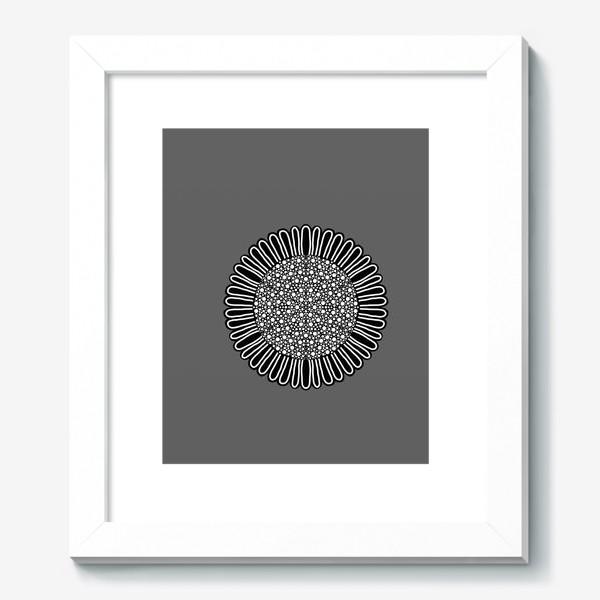 Картина «Черно-белый подсолнух на сером, графика»