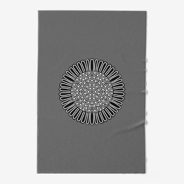 Полотенце «Черно-белый подсолнух на сером, графика»