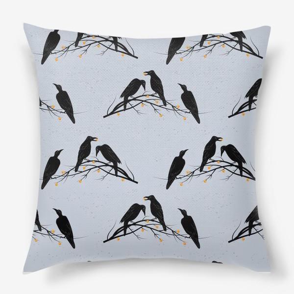 Подушка «Черные вороны на ветке с яблоками»