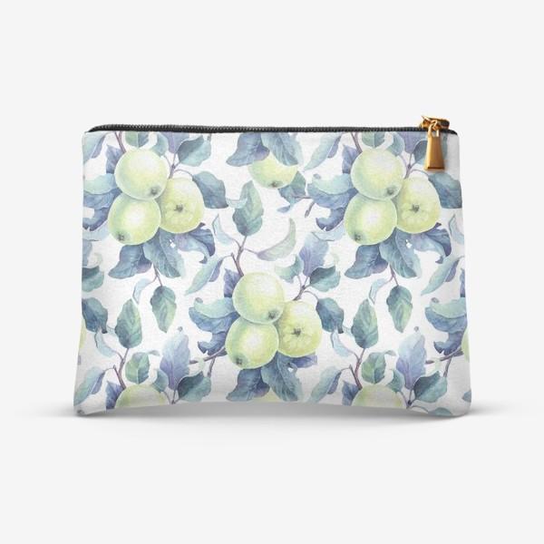 Косметичка «Зеленые яблоки паттерн»