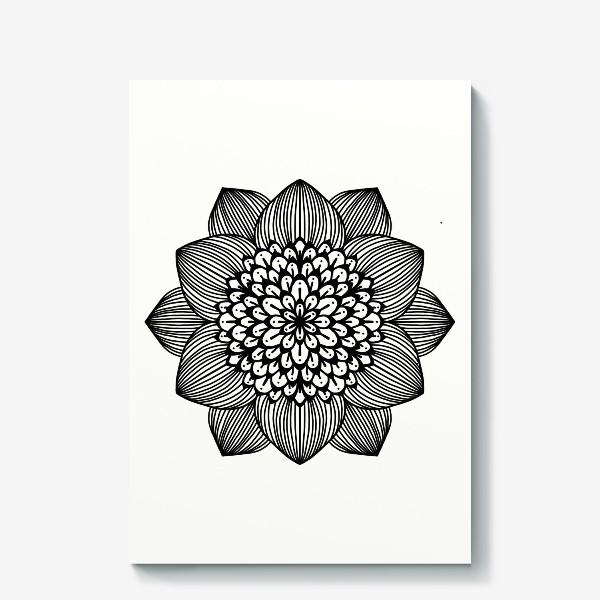 Холст «Черно-белый геометрический цветок мандала»
