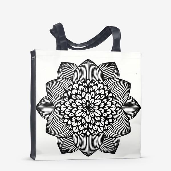 Сумка-шоппер «Черно-белый геометрический цветок мандала»