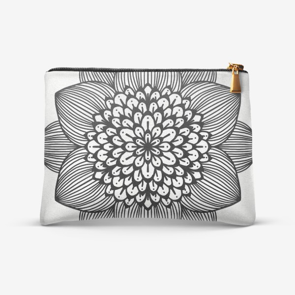 Косметичка «Черно-белый геометрический цветок мандала»