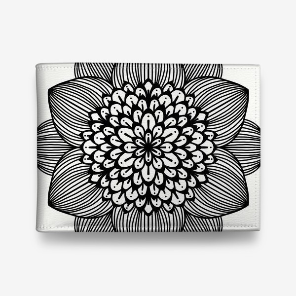 Кошелек «Черно-белый геометрический цветок мандала»