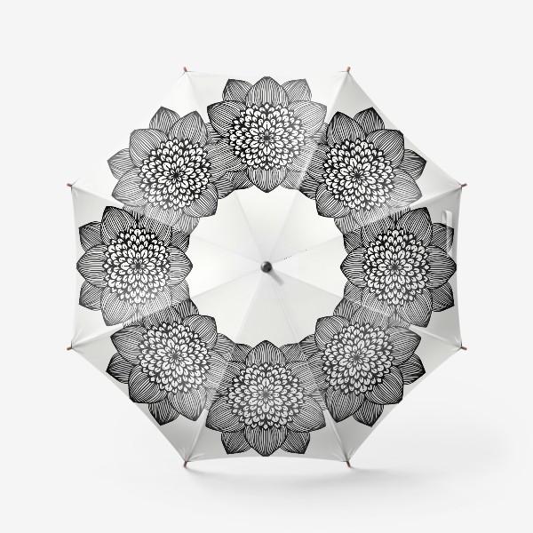 Зонт «Черно-белый геометрический цветок мандала»