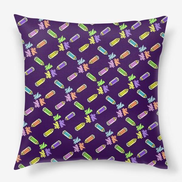 Подушка «Цветные карандаши (фиолетовый фон)»