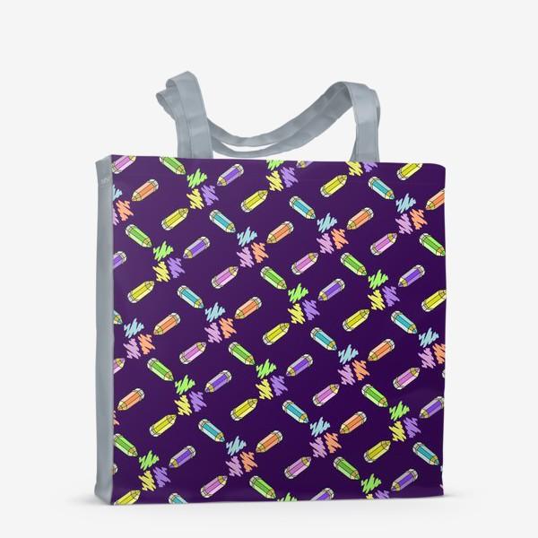 Сумка-шоппер «Цветные карандаши (фиолетовый фон)»