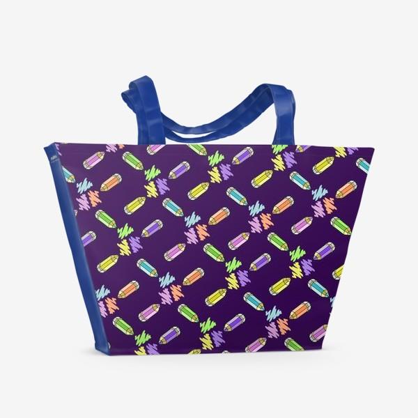 Пляжная сумка «Цветные карандаши (фиолетовый фон)»