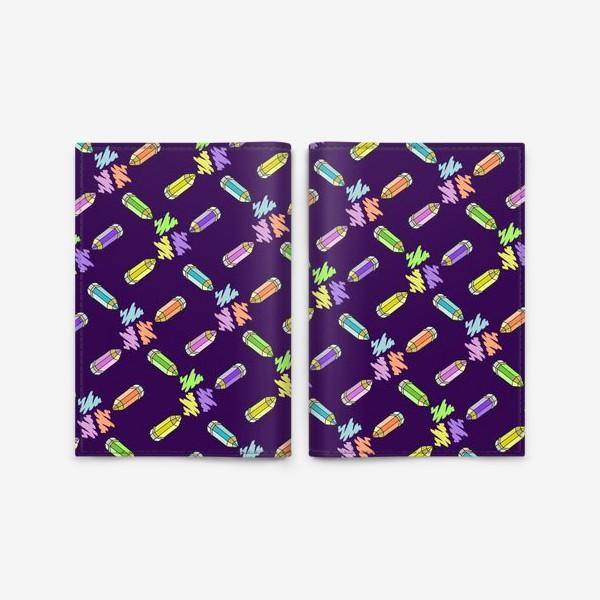 Обложка для паспорта «Цветные карандаши (фиолетовый фон)»