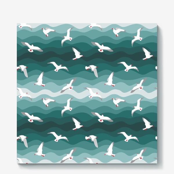 Холст «Чайки над морем, мелкий паттерн»