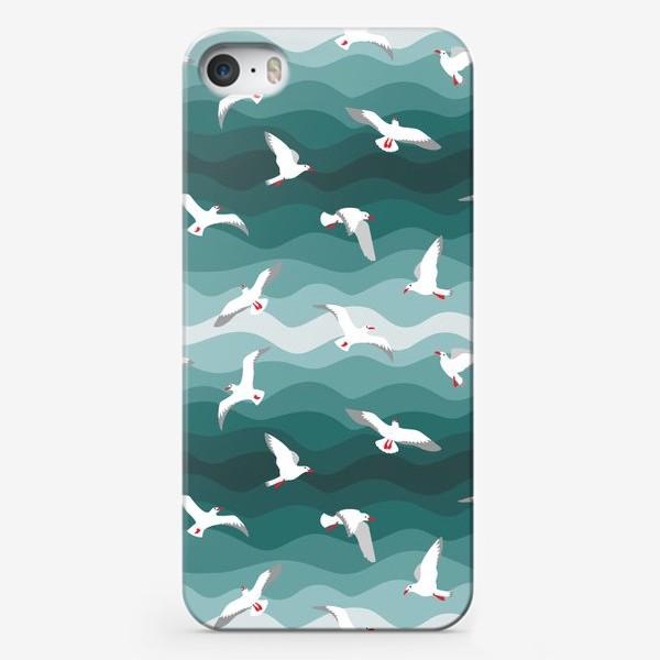 Чехол iPhone «Чайки над морем, мелкий паттерн»