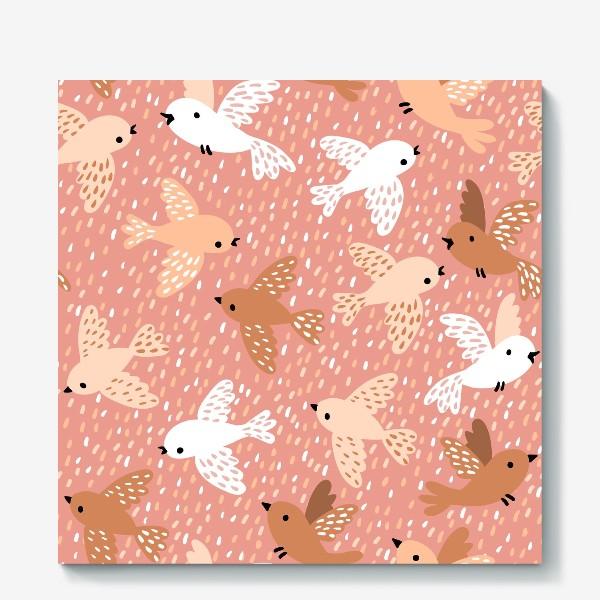 Холст «Милые птички в розово-бежевых тонах»