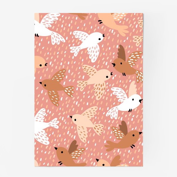 Постер «Милые птички в розово-бежевых тонах»