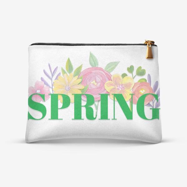 Косметичка «Весна. Весенние цветы и надпись на английском.»