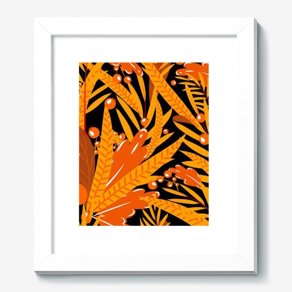Картина «осенние листья и ягоды»