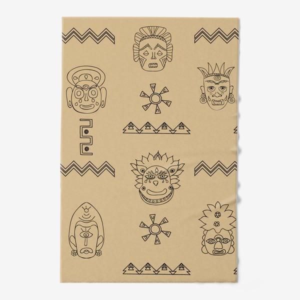 Полотенце «этнический фон с племенными масками»