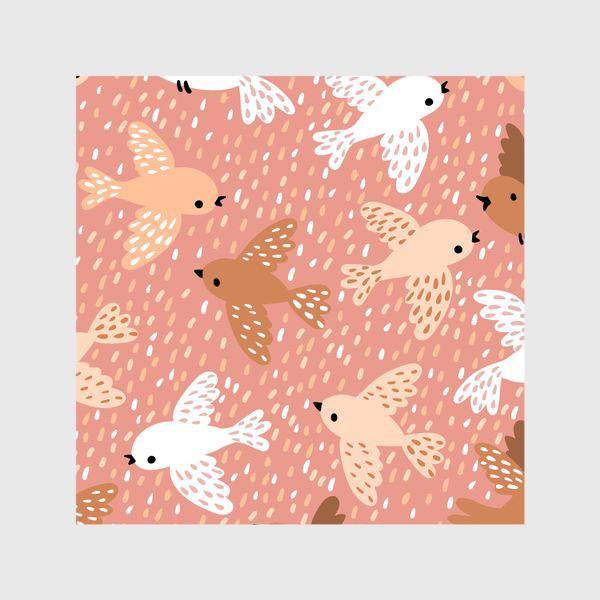 Шторы «Милые птички в розово-бежевых тонах»