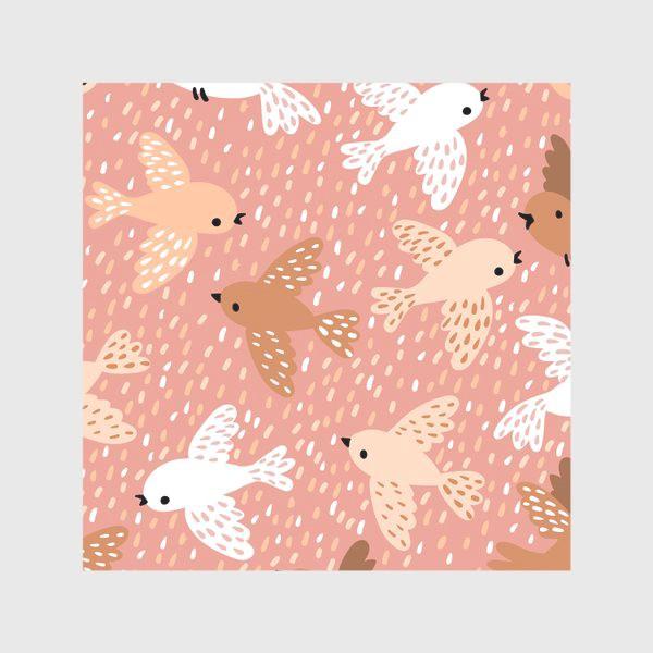 Скатерть «Милые птички в розово-бежевых тонах»