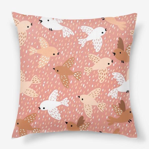 Подушка «Милые птички в розово-бежевых тонах»