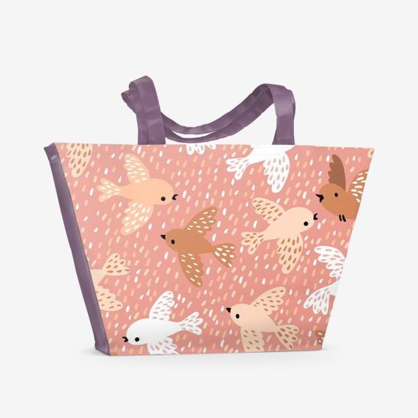 Пляжная сумка «Милые птички в розово-бежевых тонах»