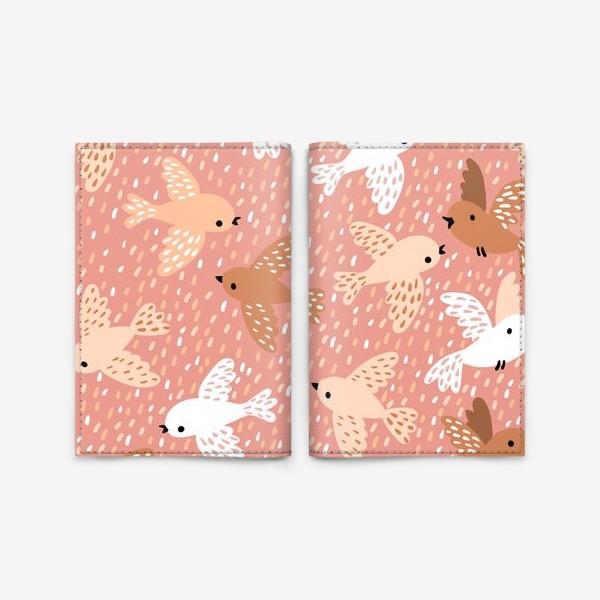 Обложка для паспорта «Милые птички в розово-бежевых тонах»