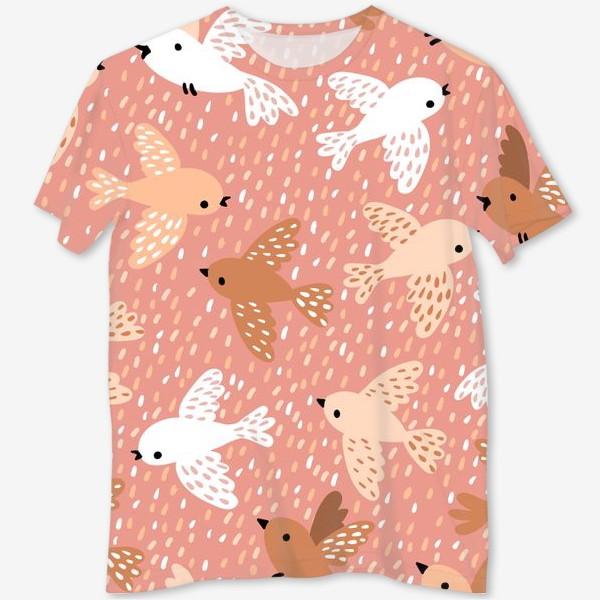 Футболка с полной запечаткой «Милые птички в розово-бежевых тонах»