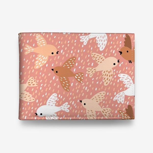 Кошелек «Милые птички в розово-бежевых тонах»