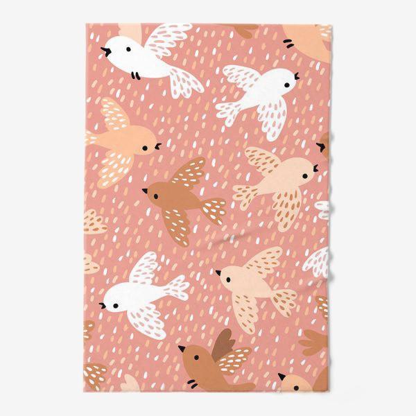 Полотенце «Милые птички в розово-бежевых тонах»