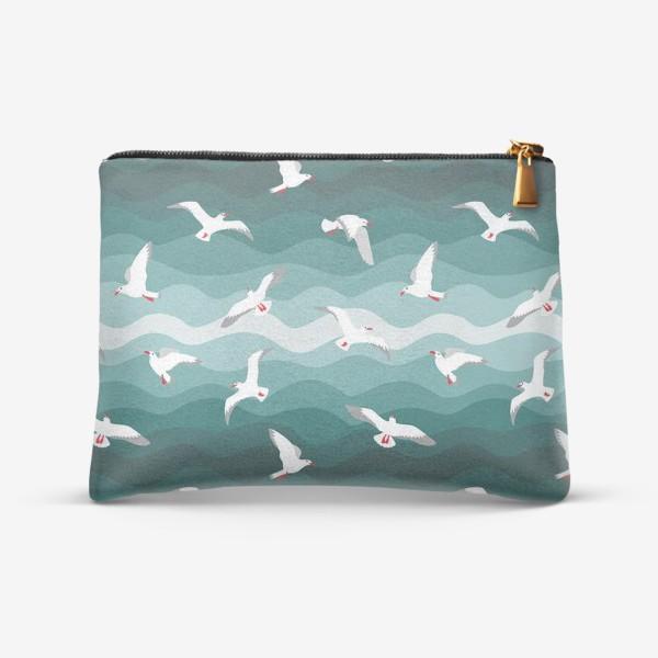 Косметичка «Чайки над морем, мелкий паттерн»