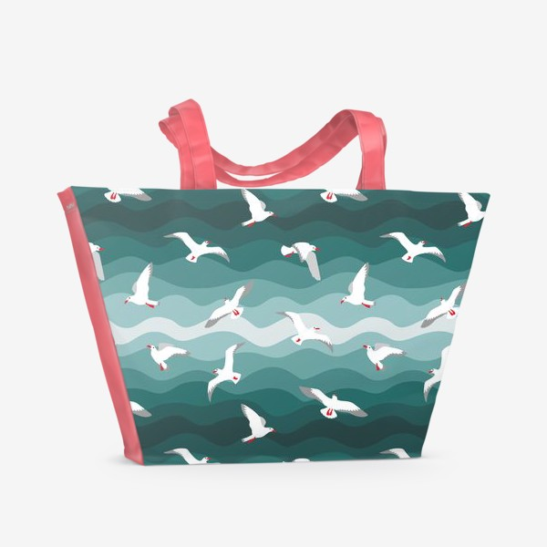 Пляжная сумка «Чайки над морем, мелкий паттерн»