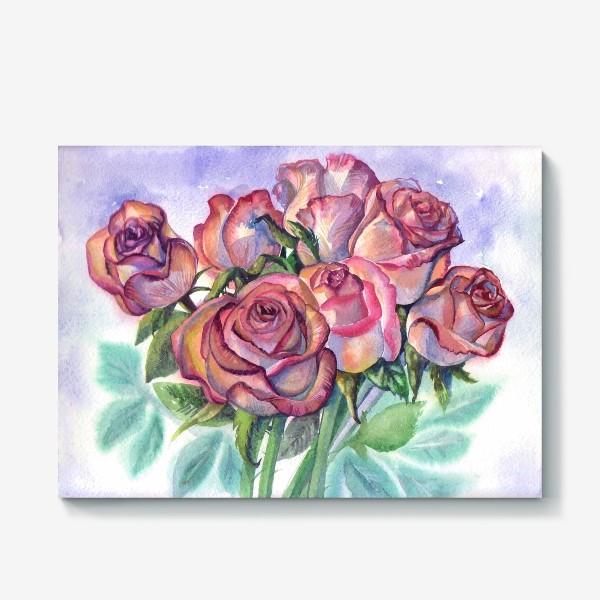 Холст «розы розовые , букет»
