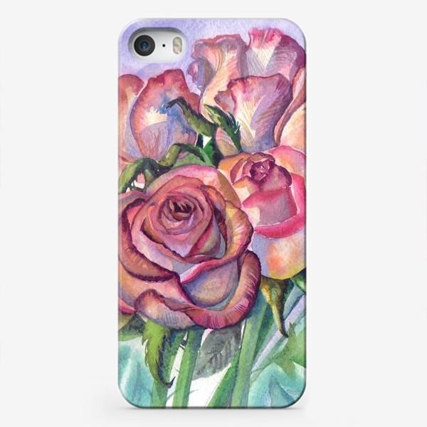 Чехол iPhone «розы розовые , букет»