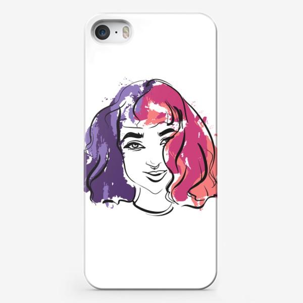 Чехол iPhone «Viola   Color hair   Fashion cкетч»