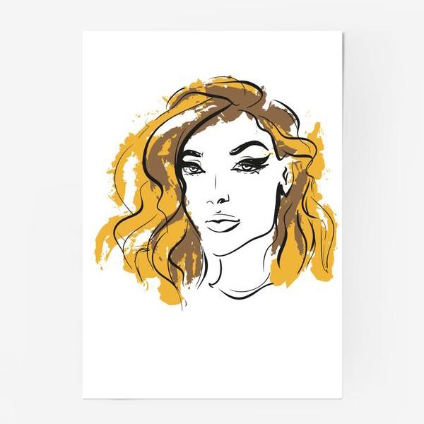 Постер «Ocher | Color hair | Fashion cкетч»
