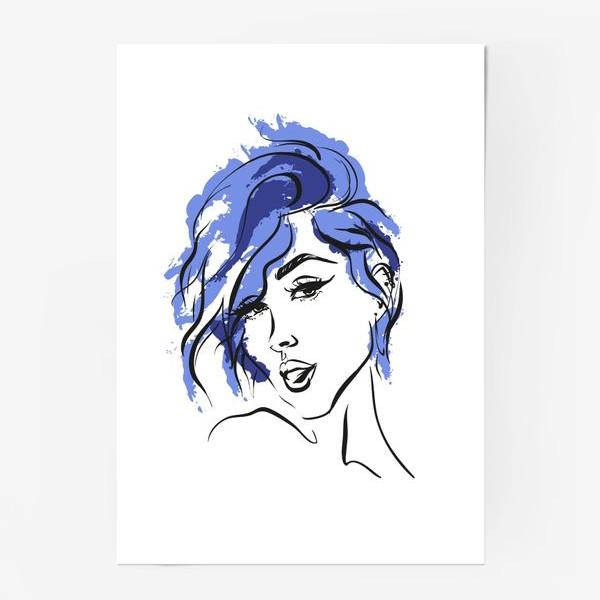 Постер «Storm | Color hair | Fashion cкетч»