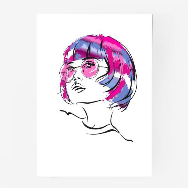 Постер «Lollipop | Color hair | Fashion cкетч»
