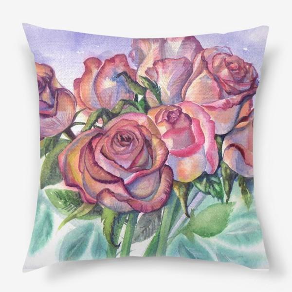 Подушка «розы розовые , букет»