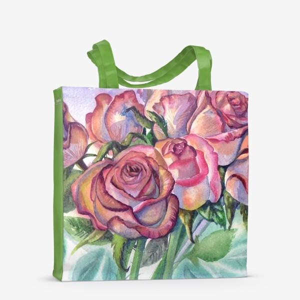 Сумка-шоппер «розы розовые , букет»