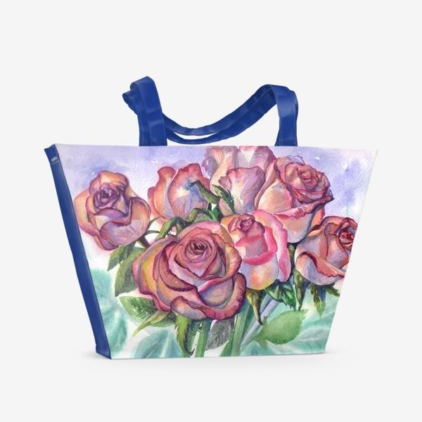 Пляжная сумка «розы розовые , букет»