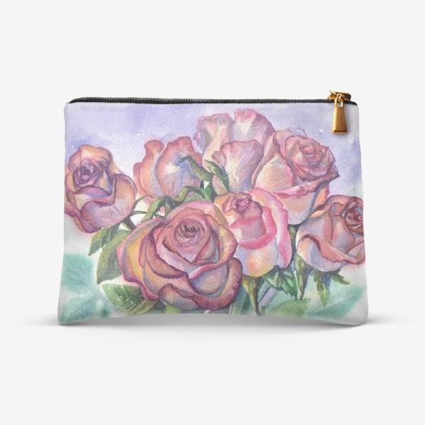 Косметичка «розы розовые , букет»