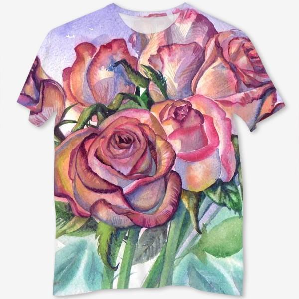 Футболка с полной запечаткой «розы розовые , букет»