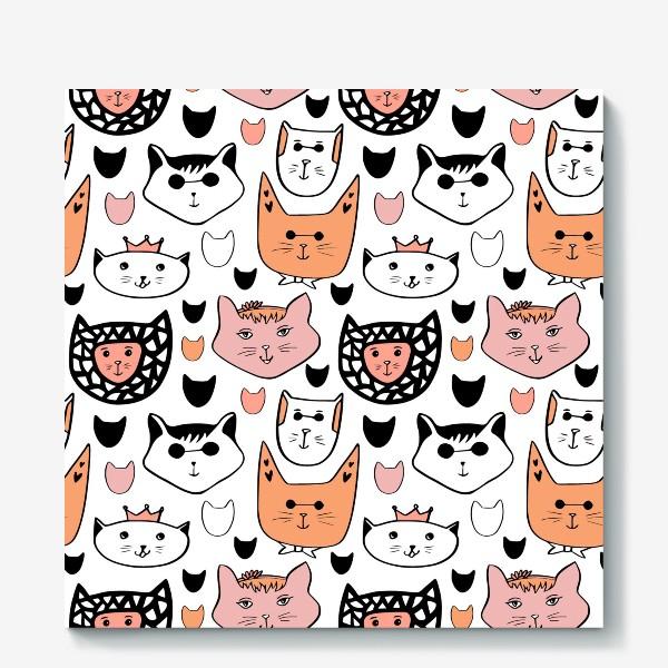 Холст «Теплые коты. Паттерн с котиками»
