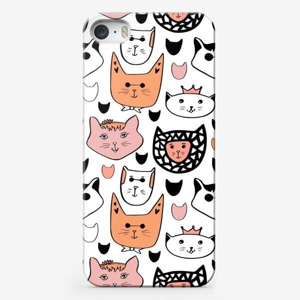 Чехол iPhone «Теплые коты. Паттерн с котиками»