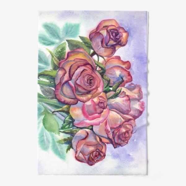 Полотенце «розы розовые , букет»